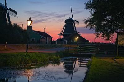 Zaanse Mill at sunset