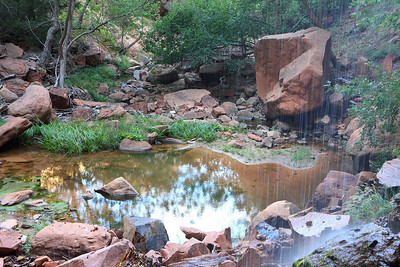 lower emerald pool fed by a couple of small waterfalls.