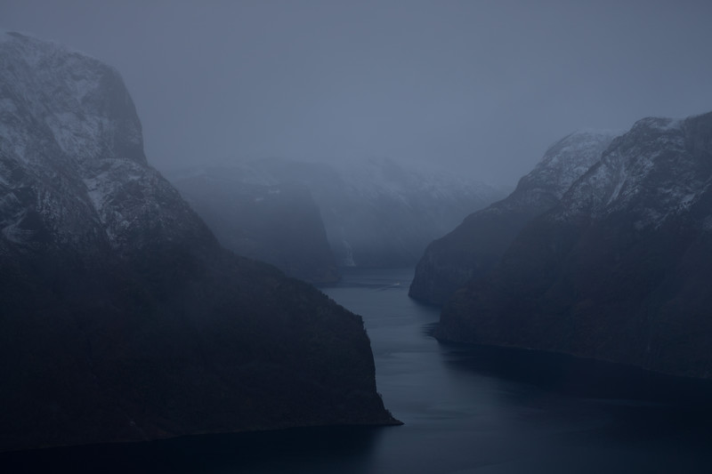 A boat in Aurland's fjord