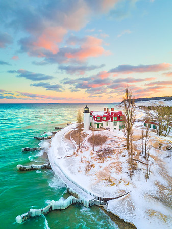 Sunrise view of the Point Betsie Lighthouse in Frankfort, Michigan