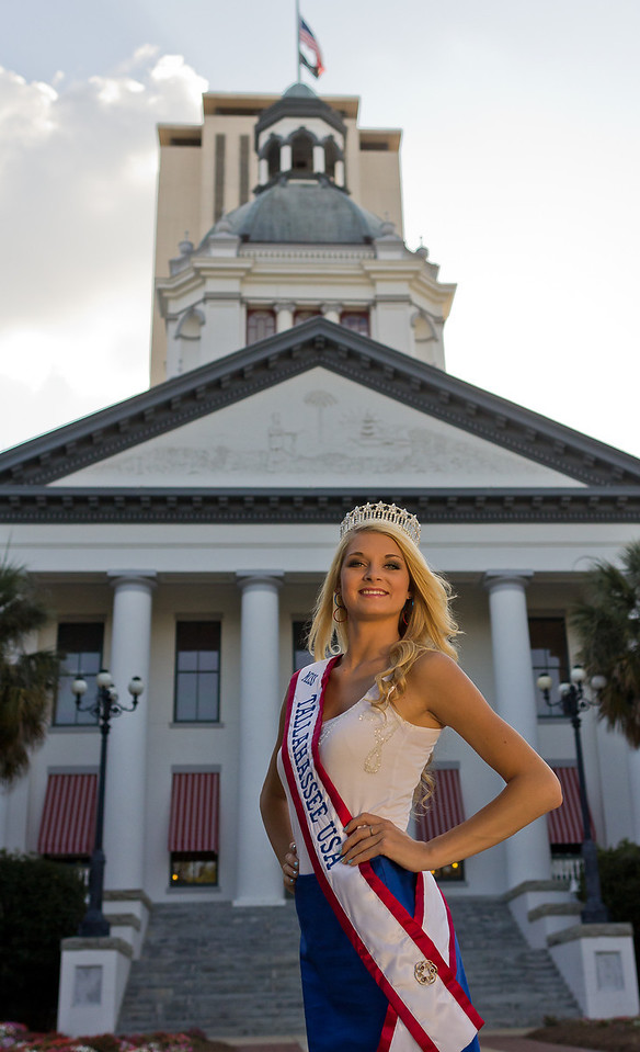 Miss Tallahassee USA 2012, Lelah Vay Kelly, in front of Florida's Historic Capitol