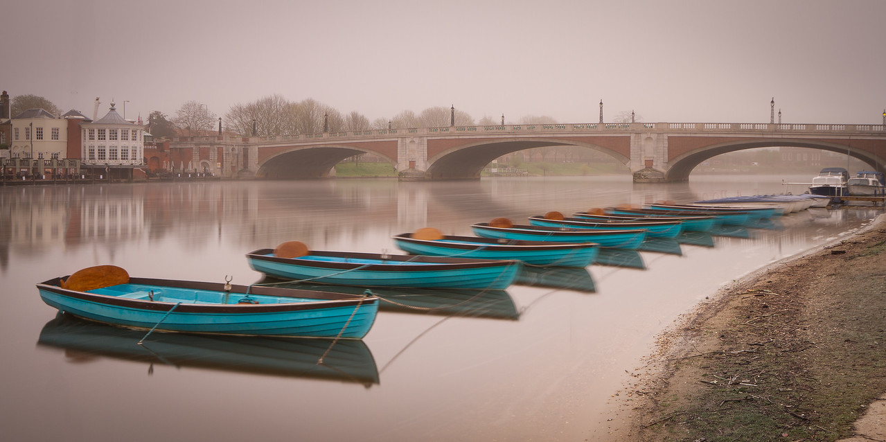 Hampton Court Bridge on a misty morning