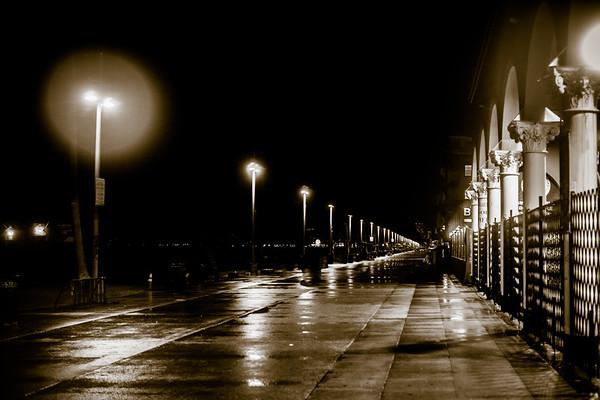 Venice Boardwalk In The Rain Black and White