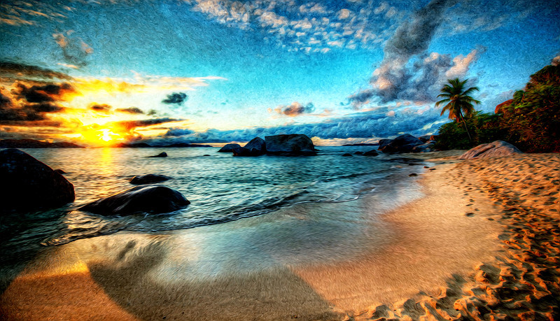 """<h2>Evening on the Beach in Virgin Gorda</h2> <br/>This is the beach that was just a short walk from Toad Hall, the place we stayed during our fun trip down to the islands. The sand was so soft and powdery, and the water was like a warm bath. I guess that's why this area got the name """"The Baths"""" although I am not sure.<br/><br/>Do you like this painting effect? I think I like it sometimes… depends on my mood.<br/><br/>- Trey Ratcliff<br/><br/><a href=""""http://www.stuckincustoms.com/2012/11/06/evening-on-the-beach-in-virgin-gorda/"""" rel=""""nofollow"""">Click here to read the rest of this post at the Stuck in Customs blog.</a>"""