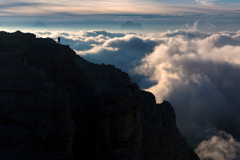 Photographing the cloud inversion from the summit of Sass Pordoi