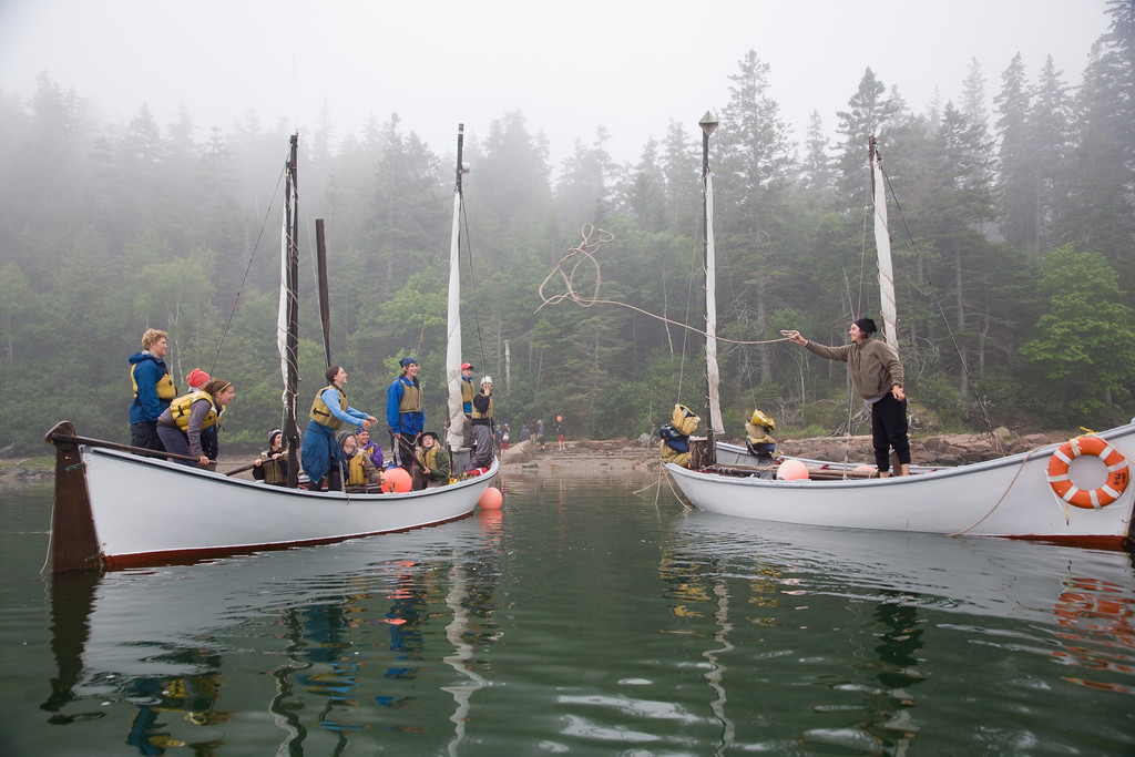 Two open pulling boats from the Outward Bound School prepare to go ashore at Valley Cove, Mount Desert Island