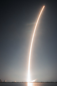 Daytime!!! Falcon 9 lights up the night in this long exposure photo.