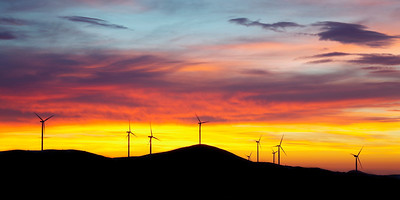 Wind plant sunrise, Bulgaria