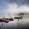 Foggy morning at the lake Grycken, Stjärnsund, Sweden