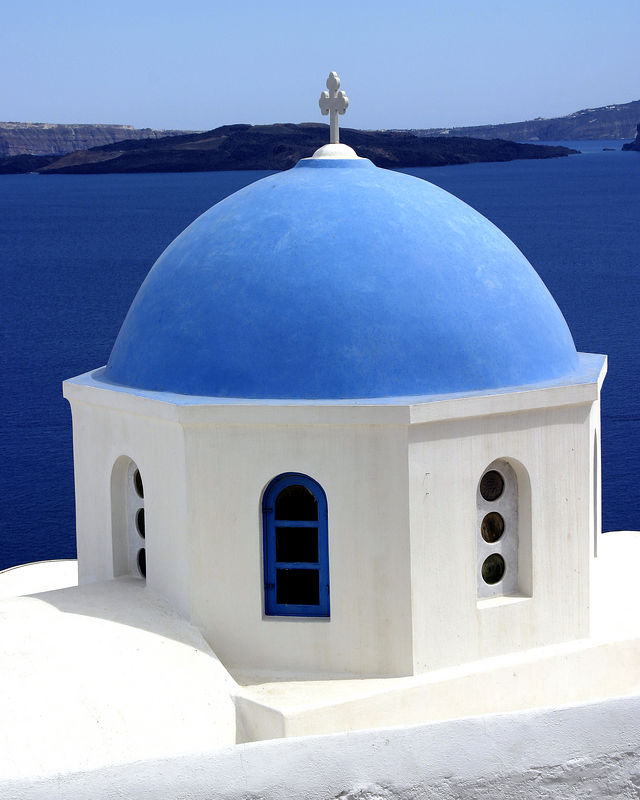 Santorini - Greek Orthodox church in town of Oia