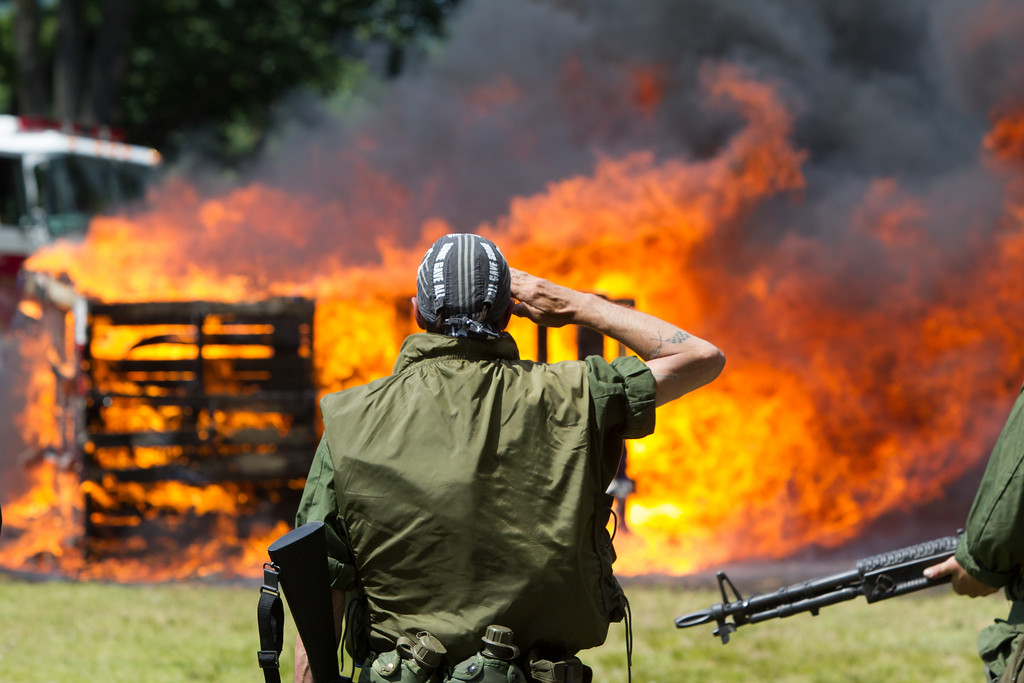 Sunday during the 18th Annual Watch Fire Ceremony held at the Meriden American Legion Post 45 in Meriden Jun. 11, 2017 | Justin Weekes / For the Record-Journal