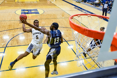 TORONTO, CANADA - Feb 07: during OCCA Basketball Matchup between Humber Hawks vs Niagara Knights at Humber Hawks Athletics Center. Photo: Michael Fayehun/F10 Sports Photography