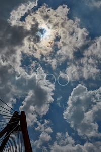 Solar Eclipse with Bridge August 2017 Columbus Indiana