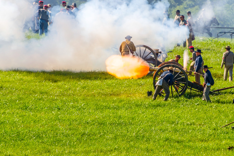 Fire From a Confederate Cannon