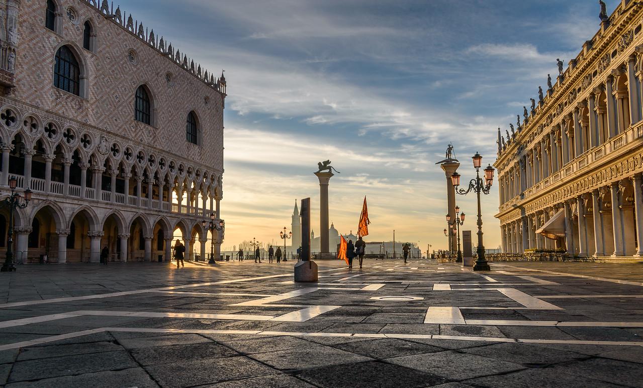St Mark's Square at sunrise, Venice