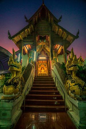 Wat at dusk. Chiang Mai, Thailand
