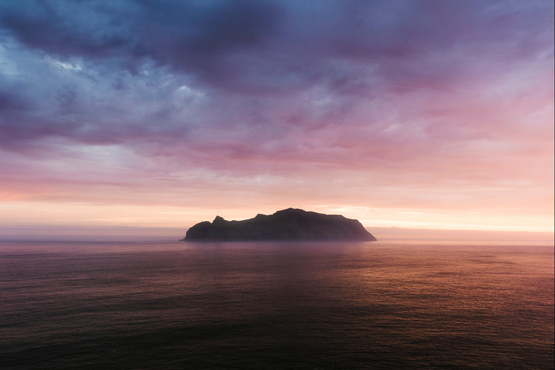 Mykines island at sunset