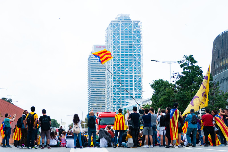 Barcelona, Spain - 14 october 2019: independentists block ronda litoral highway in protest against the prison sentence of catalan leaders in the barceloneta