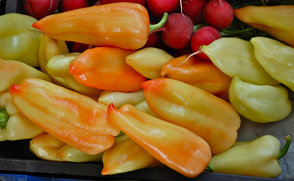 Hungarian peppers & radishes - Budapest market
