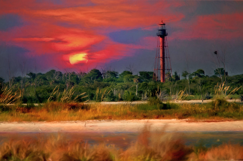Anclote Lighthouse of the coast of Tarpon Spring