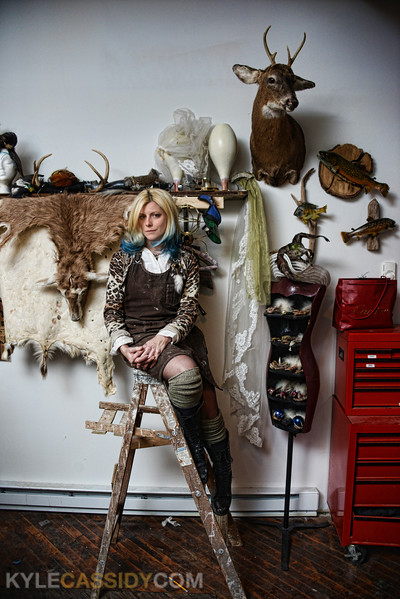 Rogue Taxidermist Beth Beverly in her studio