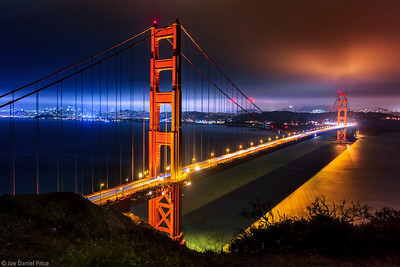 Night at the Golden Gate Bridge, San Francisco, California, America