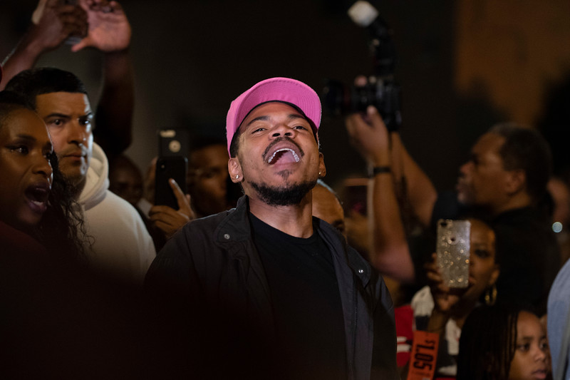 Chance the Rapper chants at the front of the march. | Colin Boyle/Chicago Sun-Times