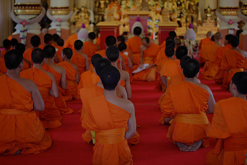 Chiang Mai Thailand, Monks chanting in a temple. This is a standard seen in Thailand, what can't be captured in a photo is the sound that reverberates out of the temple and can be heard by anyone nearby, it kind of draws you in.