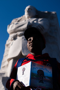 Elijah Dixon, 10, a fifth grader from Waverley Elementary, poses for a portrait at the Martin Luther King Jr. memorial in Washington, DC on Jan. 20, 2020