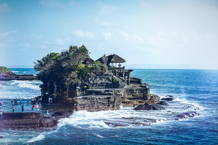 Tanah Lot the Sea Temple. Tanah Lot is the Temple in the Sea and is a very popular tourist spot of Bali Indonesia.