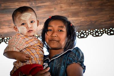 Sister and brother, Bagan, Burma