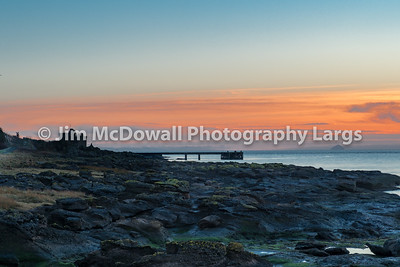Sun Going Down on Portencross Bay Putting the Old jetty & Ruins in Sillluette