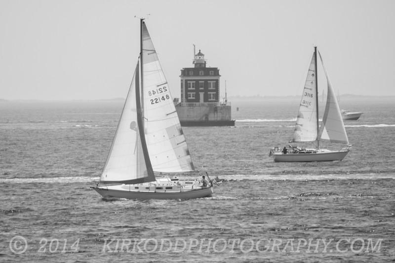 Sailing Past Ledge Light - Black And White