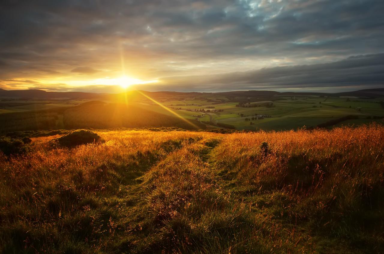Sunset over Scottish Hills