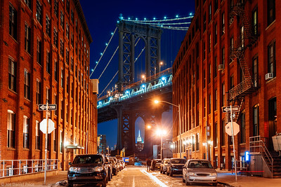 The Empire State Building Through Manhattan Bridge, Brooklyn, New York City, New York, America