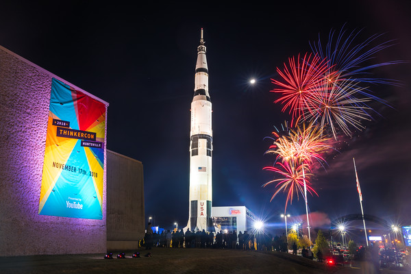 Fireworks cap off ThinkerCon 2018 at the US Space & Rocket Center in Huntsville, AL.