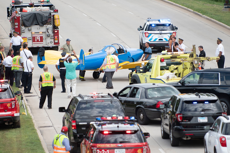 At about 3:15 p.m., a small aircraft landed on southbound Lake Shore Drive just south of the 35th Street foot bridge in Chicago, IL on July 27, 2018.   Colin Boyle/Sun-Times
