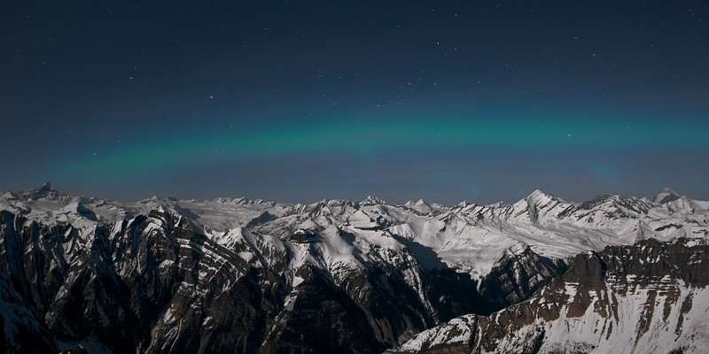 Aurora Borealis at 3000m over The Columbia Ice field in the Canadian Rockies.