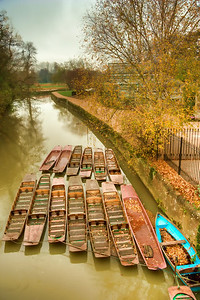 Boats on river Cherwell, Oxford.  HDR, Photomatix, Topaz Adjust (Painting-Venice)