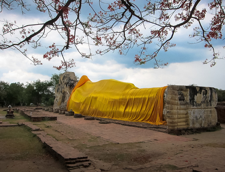 Recling Buddha (Wat Lokaya Sutha), Ayutthaya, Thailand. This is a great place to rent a bicycle and ride out to, just on the outskirts of the island of Ayutthaya it's not as heavily visited as the other main temples.