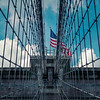 Brooklyn Bridge Wires and the Flag (New York)