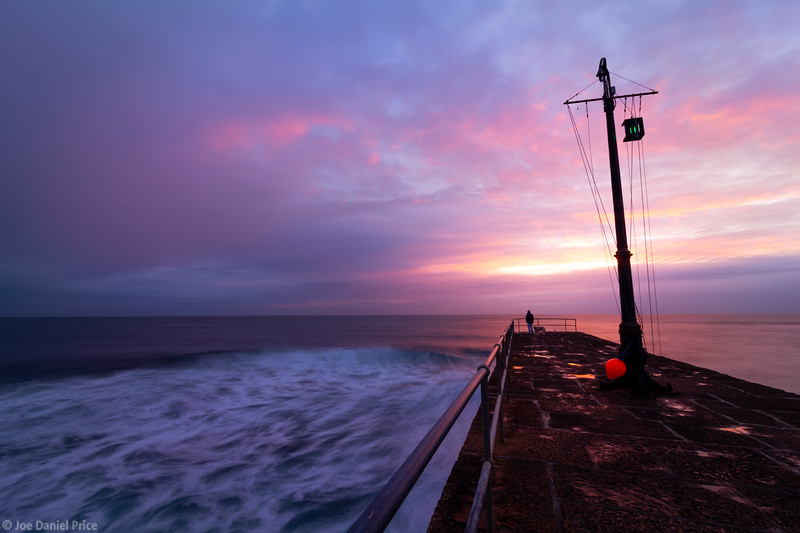 Pier, Sunset, Porthleven, Cornwall, England