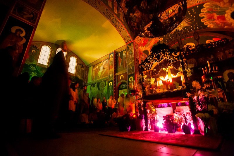 Worshippers gather in the Holy Theophany Orthodox Church for the Paschal vigil shortly before midnight Saturday, April 7, 2018. The worshippers wait for the priest to emerge from the Sanctuary with a candle representing the resurrection of Christ.<br /> <br /> (Nadav Soroker, The Gazette)