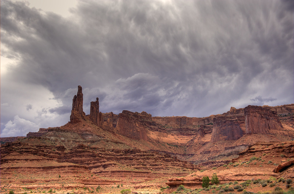 Moster Tower (left) and Washer Woman Tower (right) stand proud in Canyonlands National Park.