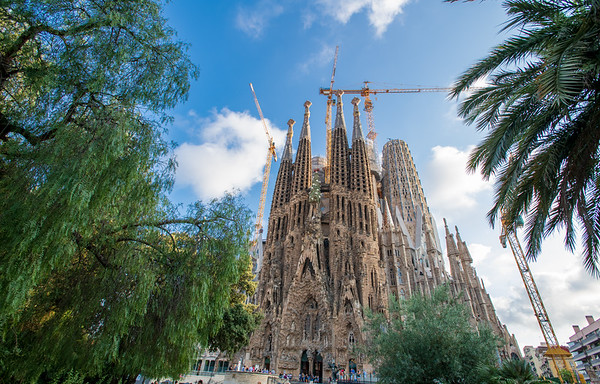 The Sagrada Família, designed by Catalan architect Antoni Gaudí. Barcelona, Spain. Construction began in 1882 and continues to this day.