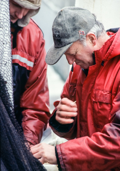 Working on the deck of a fishing boat tied up in front of us in Tromsø, these two fishermen mend a net in the pouring rain with bare hands in temperatures just above freezing.