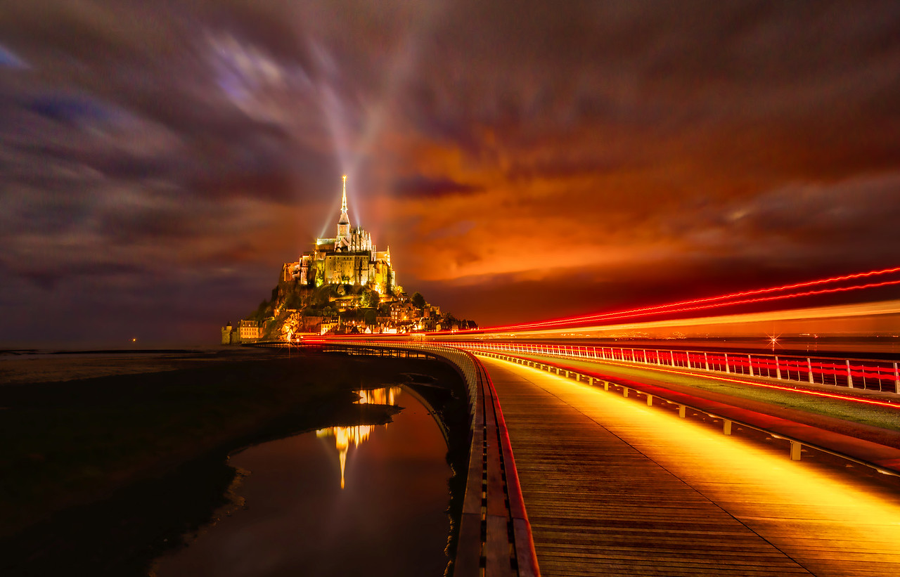 Mont Saint Michel In The Dark
