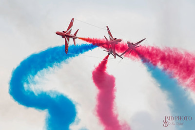 The Red Arrows RAF flying display team displaying at Great Yarmouth free airshow 2018.