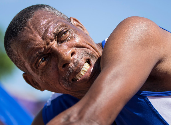 On July 13, 2015, at the National Senior Games competition, Rolland Waithe is running the 50 meter race and crossed the finish line at the track and field at University of St Thomas in St Paul, Minn. (© Erica Jacques 2016)