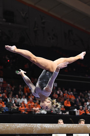 Lacy Dagen, Oregon State gymnast performs her balance beam routine. OSU won their gymnastics meet vs. Centenary & Seattle Pacific Jan 11, 2020 with a team score of 195.325.